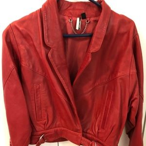 Brand New Red Leather Topshop Jacket